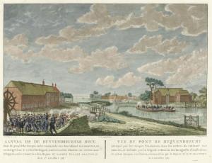Aanval op de brug bij Duivendrecht door de Pruisische troepen onder commando van kolonel Van Borstel, verdedigd door de Gelderse brigade en Amsterdamse schutters onder commando van majoor Herman Willem Daendels, 1 oktober 1787.